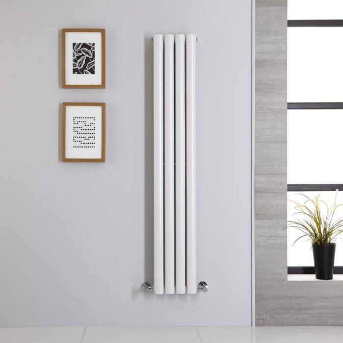 Radiatore di Design Verticale Doppio - Bianco - 1400mm x 236mm x 78mm - 696 Watt - Revive