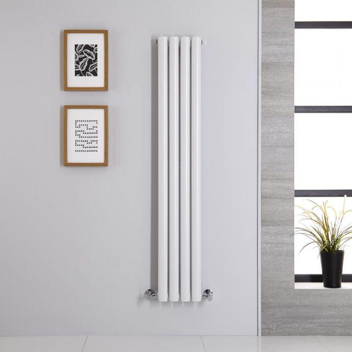 Radiatore di Design Verticale Doppio - Bianco - 1400mm x 236mm x 56mm - 457 Watt - Revive