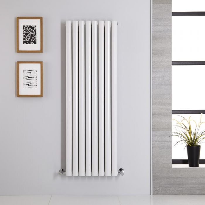 Radiatore di Design Verticale Doppio - Bianco - 1400mm x 472mm x 78mm - 1392 Watt - Revive