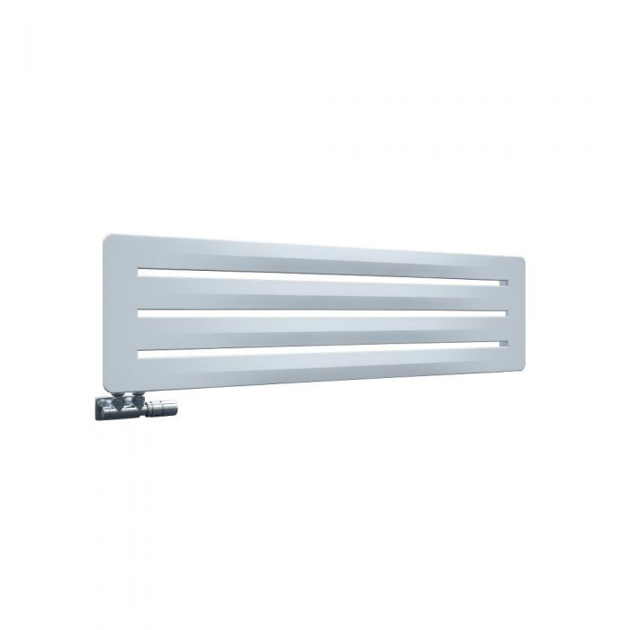 Radiatore di Design Orizzontale con Attacco Centrale - Bianco- 325mm x 1200mm x 11mm - 492 Watt - Leba