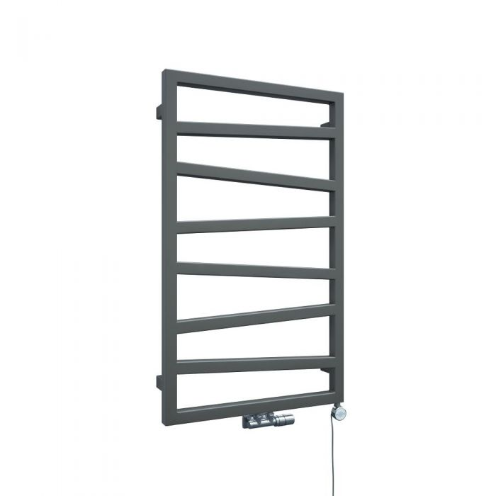 Scaldasalviette di Design Verticale con Attacco Centrale - Argento - 835mm x 500mm x 30mm - 405 Watt - Torun