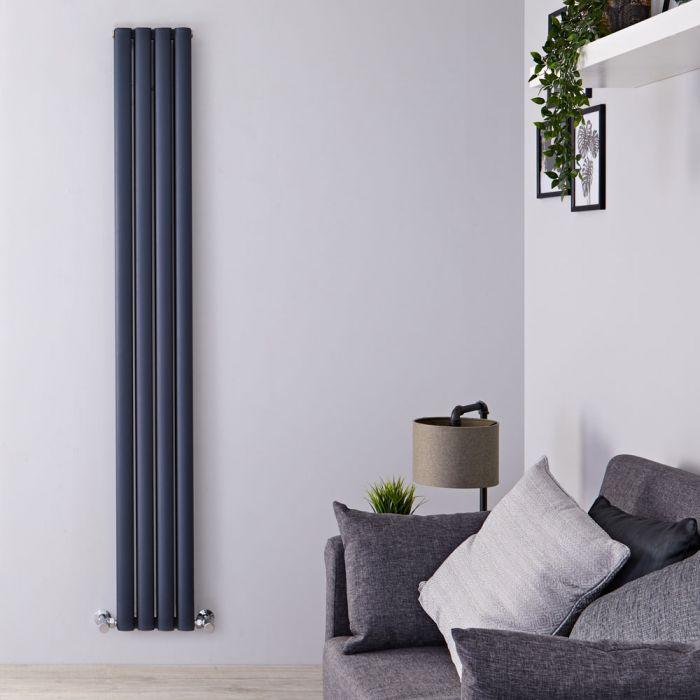 Radiatore di Design Verticale Doppio - Antracite - 1800mm x 230mm x 76mm - 1002 Watt - Revive Air