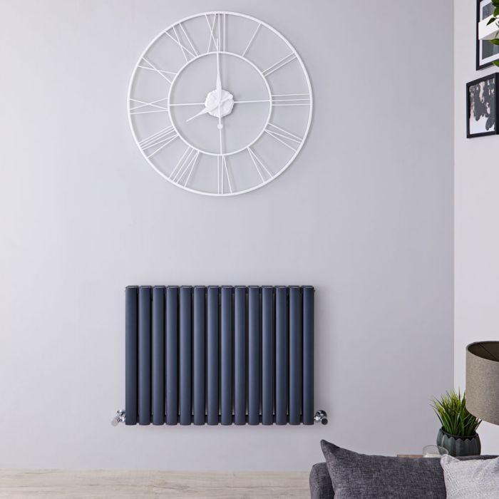 Radiatore di Design Orizzontale Doppio - Antracite - 600mm x 830mm x 76mm - 1609 Watt - Revive Air