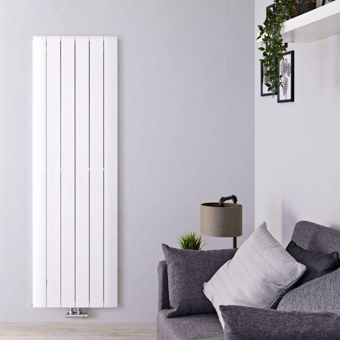 Radiatore di Design Verticale con Attacco Centrale - Alluminio - Bianco - 1600mm x 565mm x 45mm - 2042 Watt - Aurora