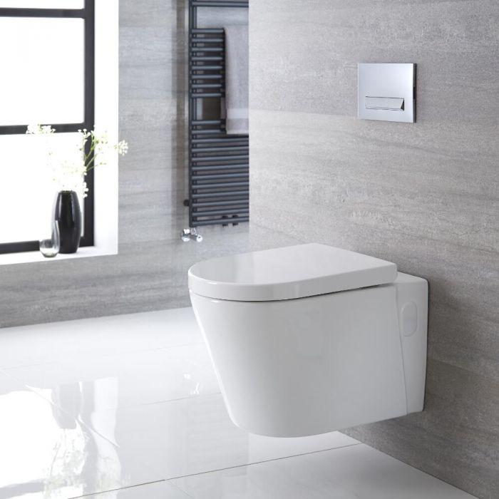 Sanitario Bagno WC Ovale Sospeso 365x350x565mm con Sedile Copri WC Soft Close - Exton