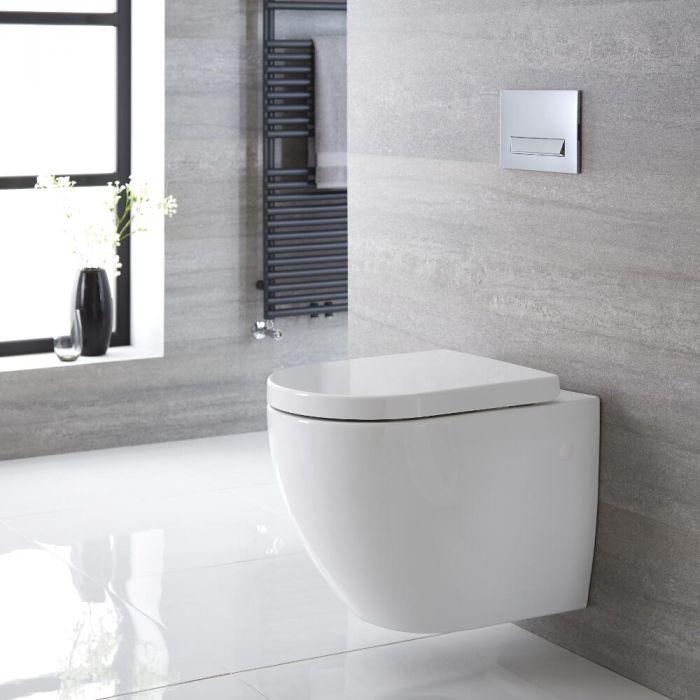 Sanitario Bagno WC Ovale Sospeso 385x365 x555mm con Sedile Copri WC Soft Close -  Ashbury