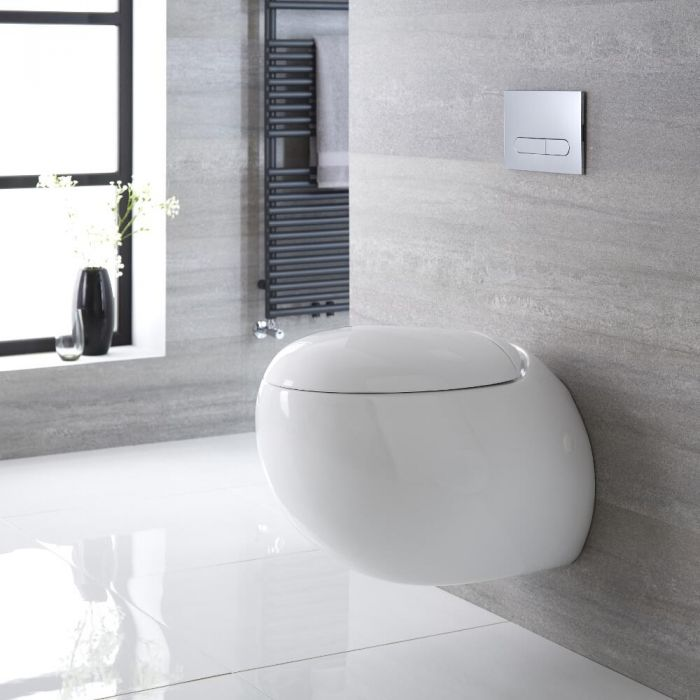 Sanitario Bagno WC Ovale Sospeso 420x350x590mm con Sedile Copri WC Soft Close -  Langtree