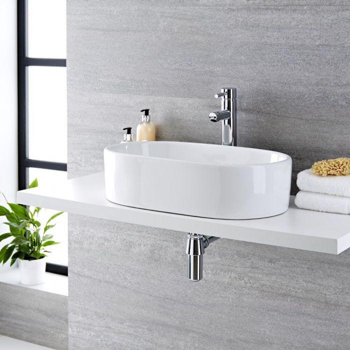 Lavabo Bagno da Appoggio in Ceramica Ovale 560x355mm con Mini Rubinetto Miscelatore -  Otterton