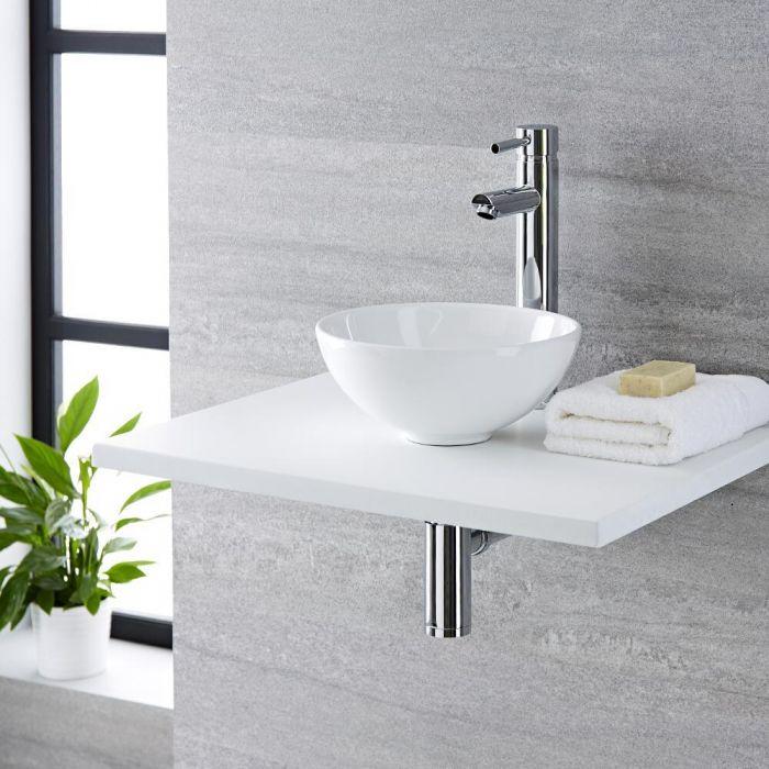 Lavabo Bagno da Appoggio Tondo in Ceramica 400x400mm con Rubinetto Miscelatore Alto Monoforo- Ashbury