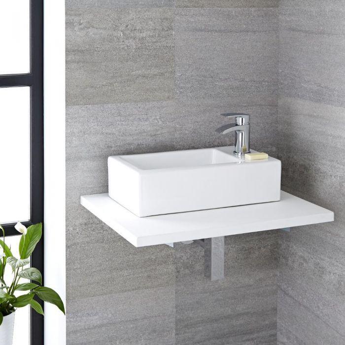 Lavabo Bagno Sospeso in Ceramica Rettangolare 450x250mm Con Mini ...