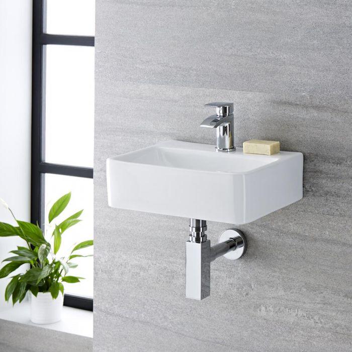 Lavabo Bagno Sospeso in Ceramica Rettangolare 400x295mm - Exton