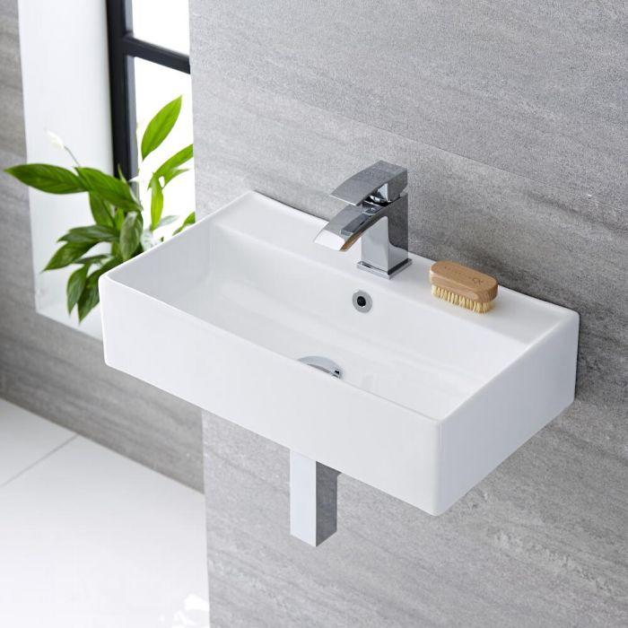 Lavabo Bagno Sospeso Rettangolare in Ceramica 550x310mm - Halwell
