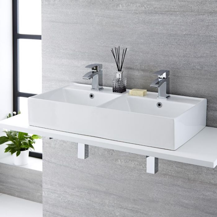 Lavabo Bagno da Appoggio Rettangolare Doppio in Ceramica 820x420mm - Halwell