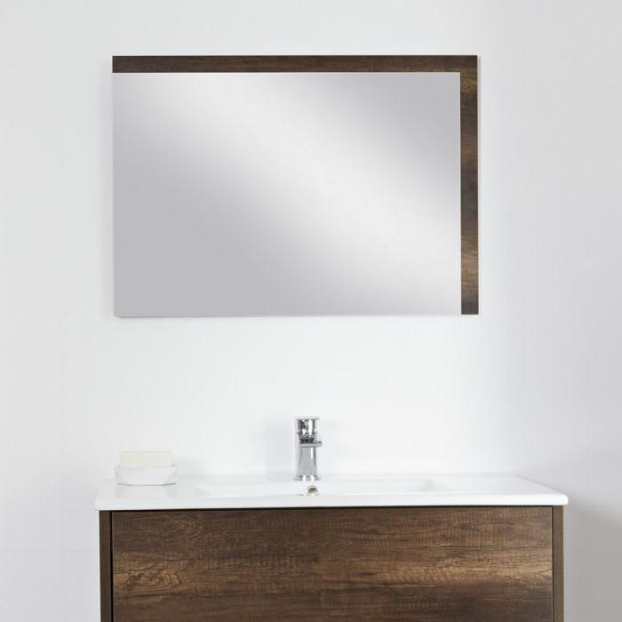 Specchio Bagno Murale 750x1000mm Colore Rovere Scuro con Design ...