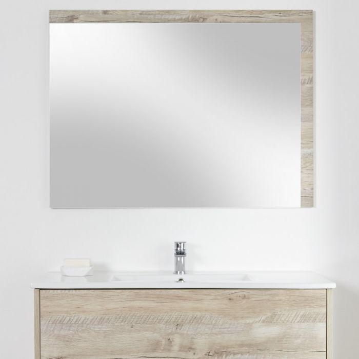 Specchio Bagno Murale 750x1000mm Colore Rovere Chiaro Con Design