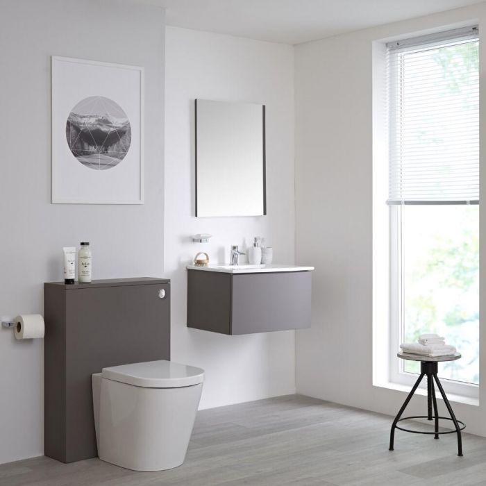 Mobile WC 600mm Colore Grigio Opaco per Stanza da Bagno Completo di Cassetta , Sanitario e Lavabo Disponibile con Opzione LED  - Newington