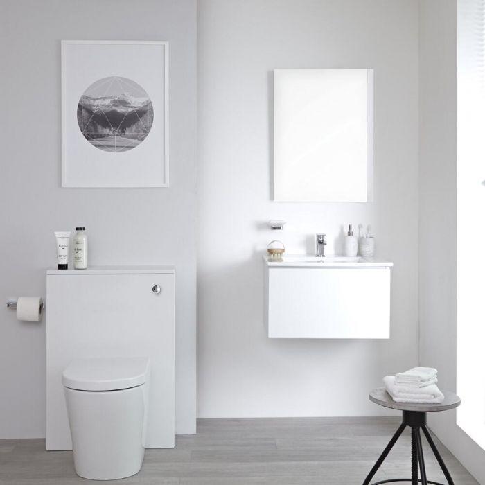 Mobile WC 600mm Colore Bianco Opaco Completo di Placca di Comando, WC e Cassetta - Newington