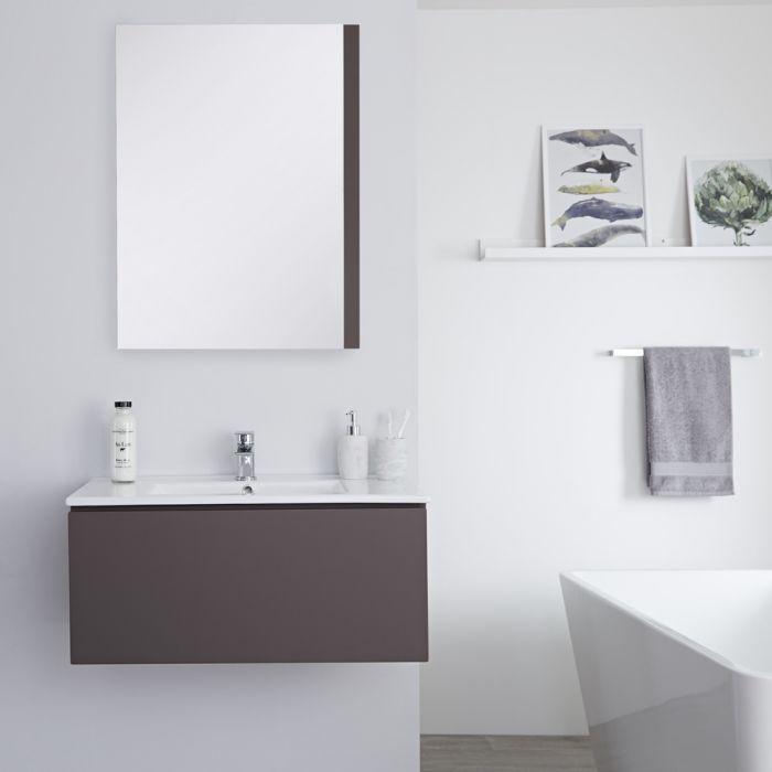 Mobile Bagno Murale 800mm con Lavabo Integrato Colore Grigio Opaco Disponibile con Opzione LED - Newington
