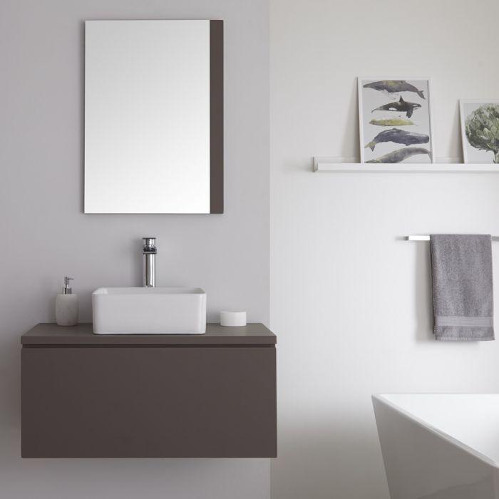 Mobile Bagno Murale 800mm Colore Grigio Opaco con Lavabo da Appoggio Disponibile con Opzione LED - Newington