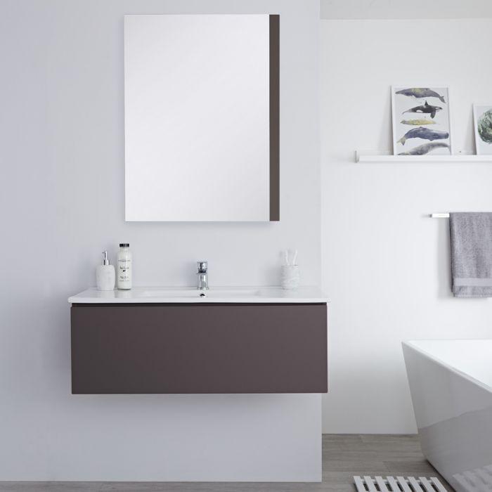 Mobile Bagno Murale 1000mm con Lavabo Integrato Colore Gris Opaco Disponibile con Opzione LED - Newington