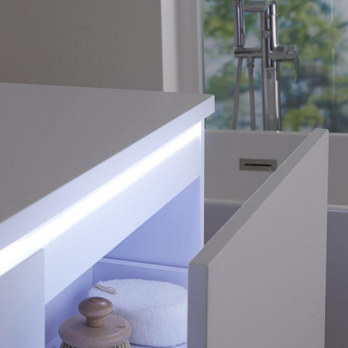Mobile Bagno Murale 1200mm Colore Bianco Opaco con Lavabo da Appoggio Doppio Disponibile con Opzione LED - Newington