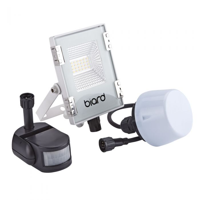 Biard Faro Proiettore Piatto Bianco 10W con Sensore PIR o Sensore Crepuscolare