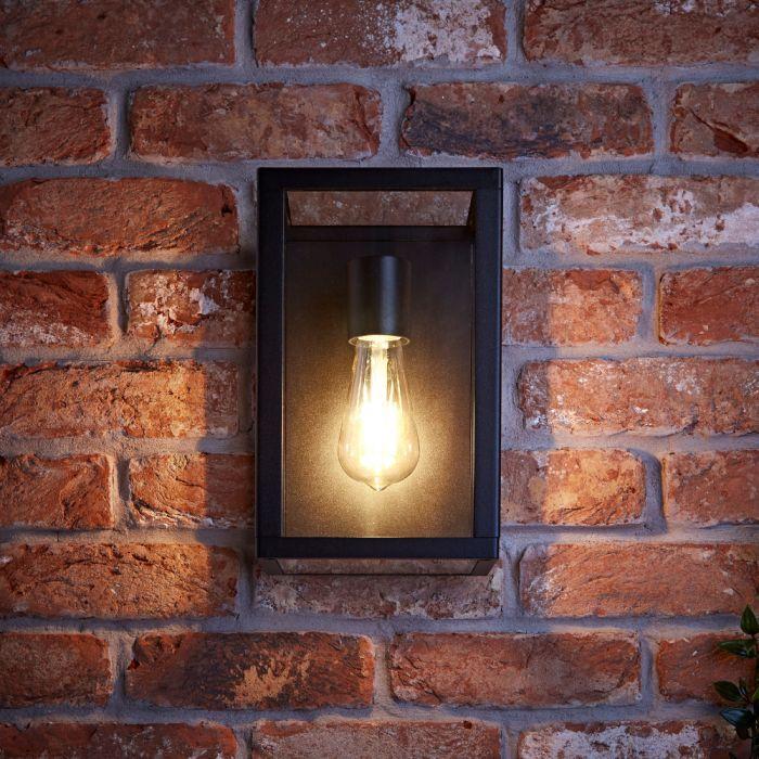 Biard Applique Murale Stile Lanterna e Struttura Nera con Vetro - Bonn