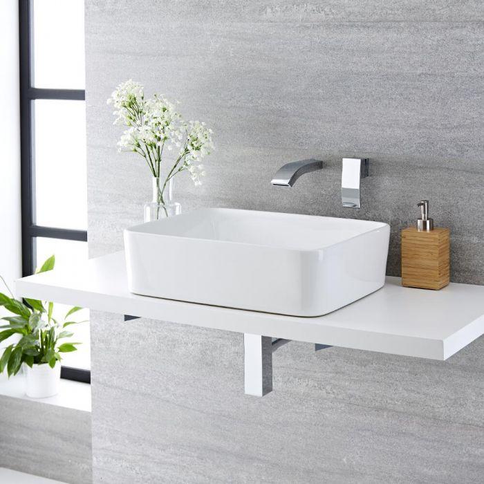 Lavabo Bagno da Appoggio Rettangolare in Ceramica  480x370mm con Rubinetto Miscelatore per Lavabo -  Alswear