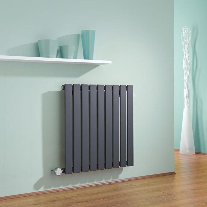 Radiatore di Design Elettrico Orizzontale - Antracite - 635mm x 630mm x 46mm  - Elemento Termostatico  600W  - Delta