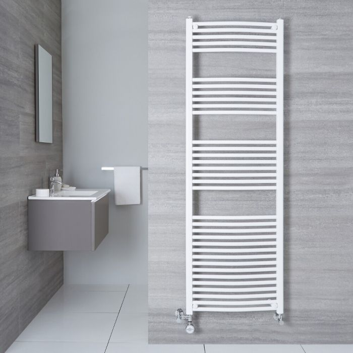 Radiatore Scaldasalviette Misto Curvo - Bianco - 1800mm x 500mm x 45mm - 1000 Watt - Etna