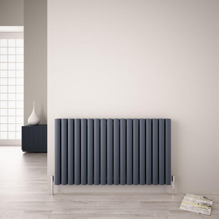 Radiatore di Design - Orizzontale Doppio - Antracite - 600mm x 1070mm -  1.632 Watt - Revive Air