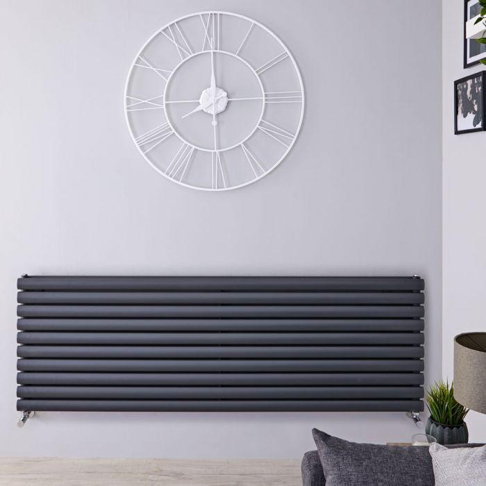 Radiatore di Design Orizzontale Doppio - Antracite - 590mm x 1600mm x 78mm - 1881 Watt - Revive