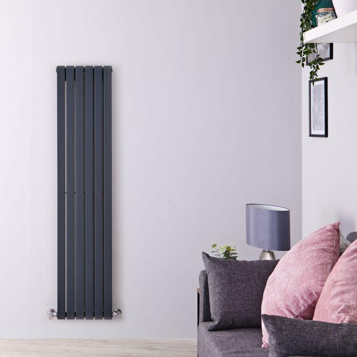 Radiatore di Design Verticale Doppio - Antracite - 1600mm x 354mm x 72mm - 1193 Watt - Sloane
