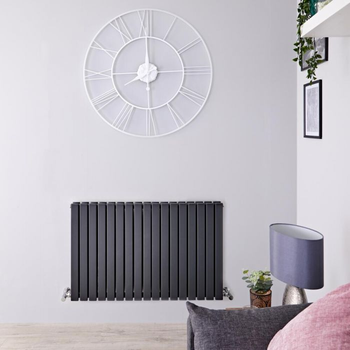 Radiatore di Design Orizzontale Doppio - Antracite - 635mm x 1000mm x 71mm - 1587 Watt - Sloane