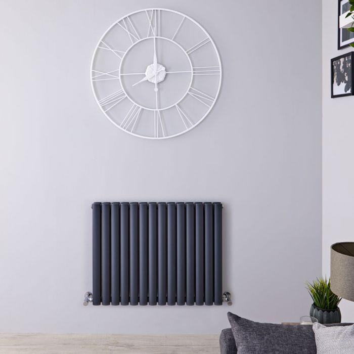Radiatore di Design Orizzontale Doppio - Antracite - 635mm x 834mm x 78mm - 1304 Watt - Revive