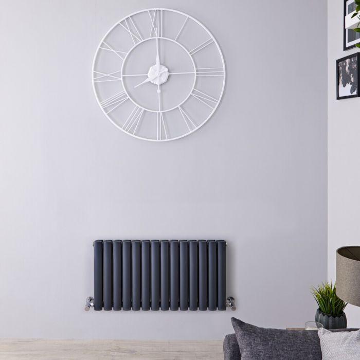 Radiatore di Design Orizzontale Doppio - Antracite - 400mm x 834mm x 78mm - 866 Watt – Revive