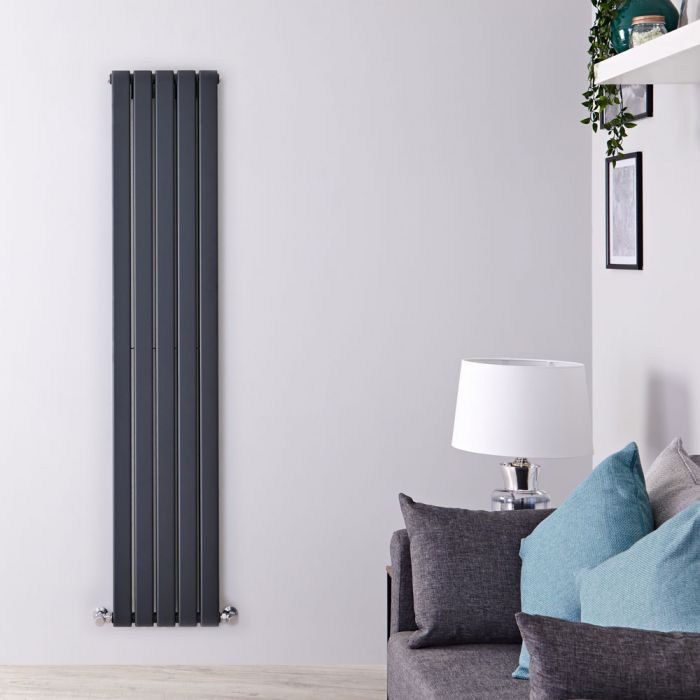 Radiatore di Design Verticale Doppio - Antracite - 1600mm x 350mm x 60mm - 1102 Watt - Delta