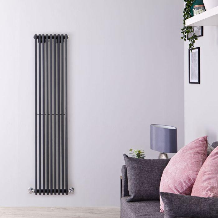Radiatore di Design Verticale  - Antracite - 1600mm x 342mm x 84mm - 1053 Watt - Fin