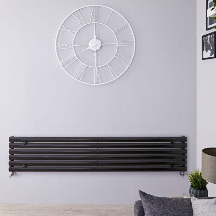 Radiatore di Design Orizzontale - Nero Lucido - 354mm x 1600mm x 56mm - 815 Watt - Revive