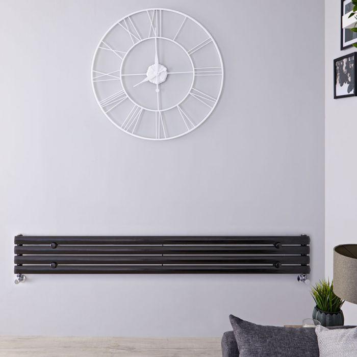 Radiatore di Design Orizzontale - Nero Lucido - 236mm x 1600mm x 56mm - 518 Watt - Revive