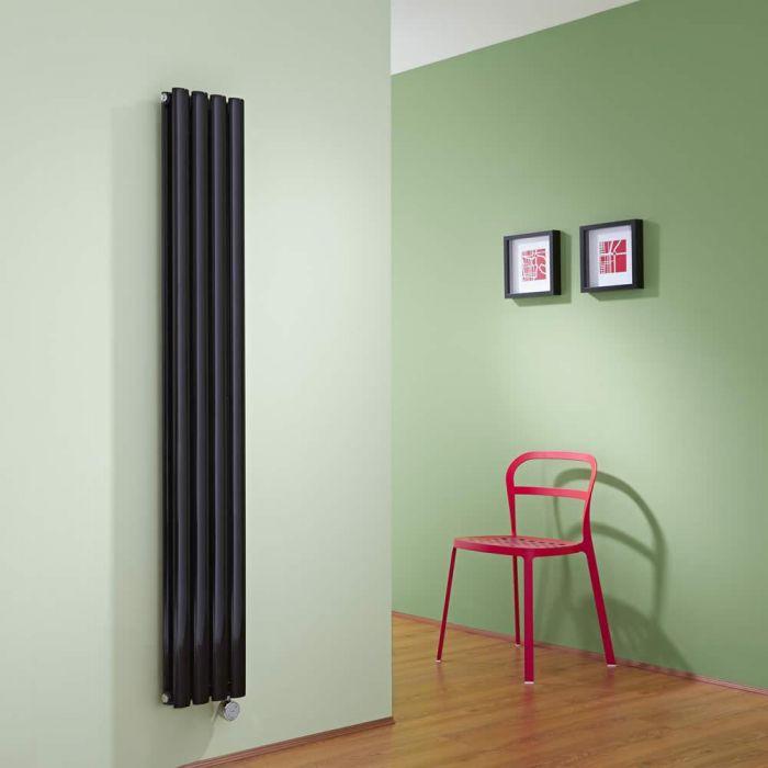 Radiatore di Design Elettrico Verticale Doppio - Nero Lucido - 1600mm x 236mm x 78mm - 1 Elemento Termostatico 1200W - Revive