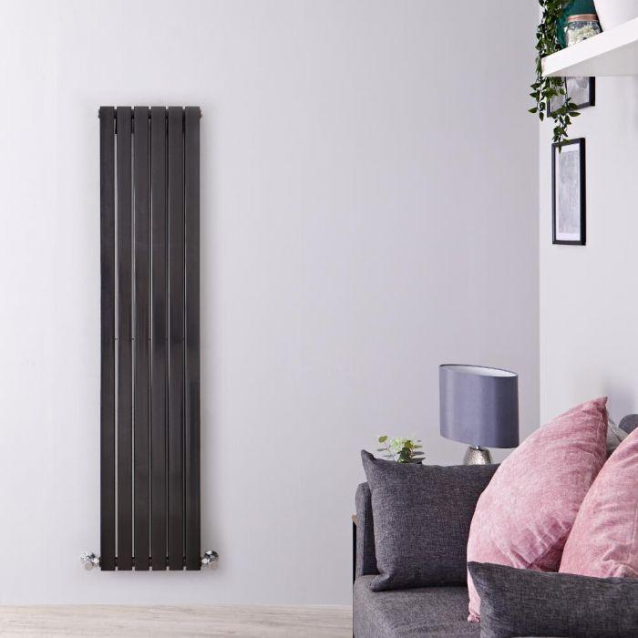 Radiatore di Design Verticale Doppio - Nero Lucido - 1600mm x 354mm x 72mm - 1193 Watt - Sloane