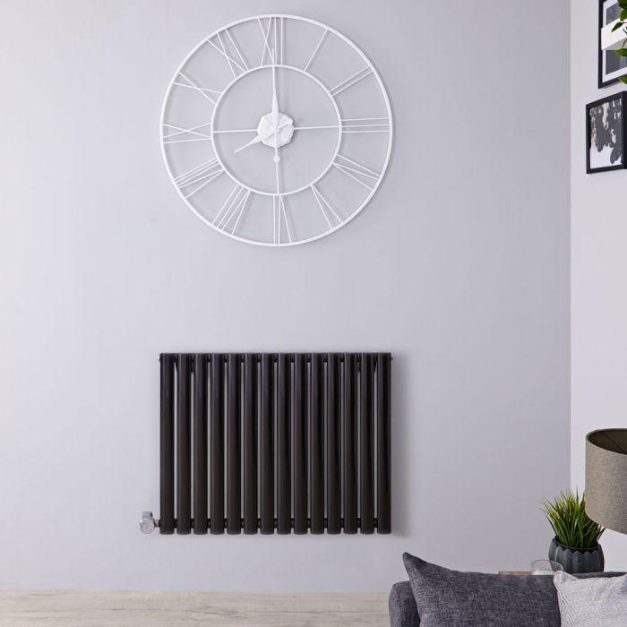 Radiatore di Design Elettrico Orizzontale - Nero Lucido - 635mm x 834mm x 56mm - Elemento Termostatico 1000W - Revive