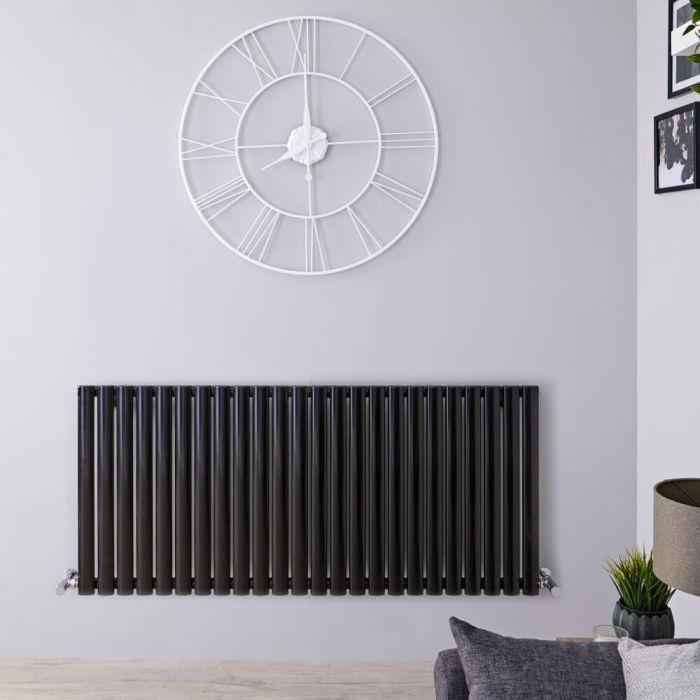 Radiatore di Design Orizzontale Doppio - Nero Lucido - 635mm x 1411mm x 78mm - 2236 Watt - Revive
