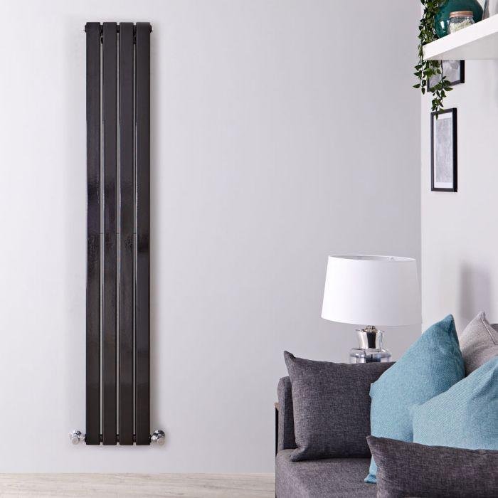 Radiatore di Design Verticale Doppio - Nero Lucido - 1600mm x 280mm x 60mm - 882 Watt - Delta