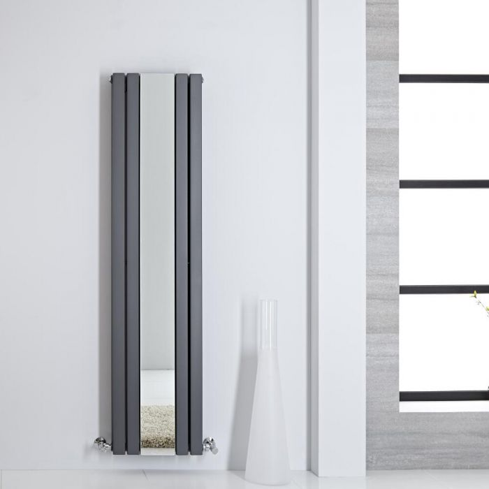 Radiatore di Design - Verticale Con Specchio - Antracite - 1600mm x 385mm - 1212 Watt - Sloane