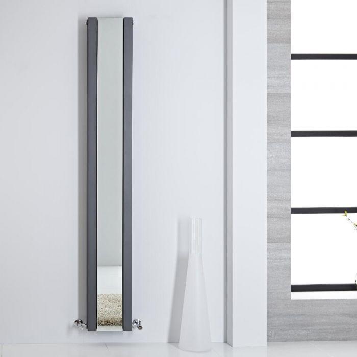 Radiatore di Design - Verticale Con Specchio - Antracite - 1800mm x 265mm - 901 Watt - Sloane
