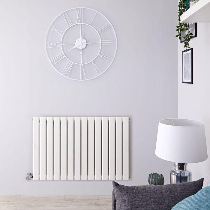 Radiatore di Design Elettrico Orizzontale - Bianco - 635mm x 980mm x 46mm  - Elemento Termostatico 800W  - Delta