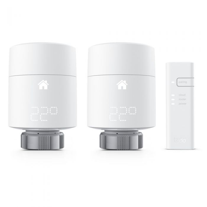 Kit di Base con 2 Teste Termostatiche Intelligenti Verticali e Internet Bridge Tado°