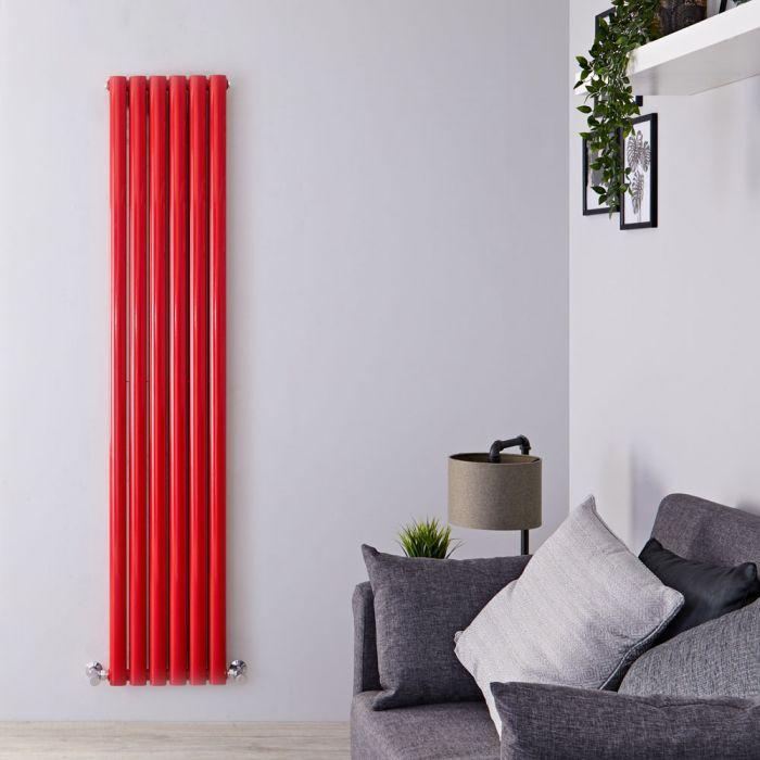 Radiatore di Design Verticale Doppio - Rosso - 1800mm x 355mm x 79mm - 1632 Watt - Revive